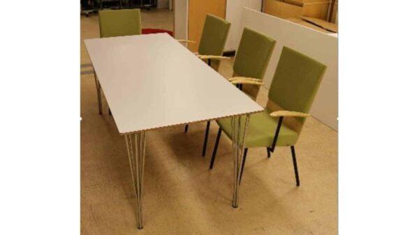 Konferens /Lunchbord med gröna stolar #4035 - Stockholms Kontorsmöbler
