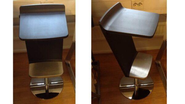 Höj och sänkbar ståstol i svart och metall #1012 - Stockholms Kontorsmöbler